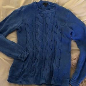 J. Crew women's cable knit sweater blue small